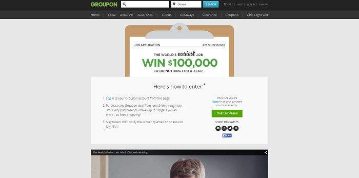Groupon's World's Easiest Job Sweepstakes