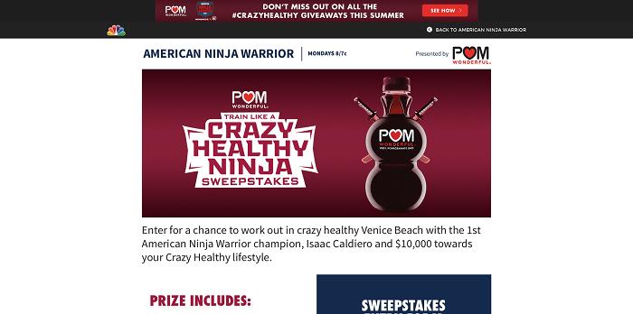 NBC.com/POM - NBC POM American Ninja Warrior Sweepstakes
