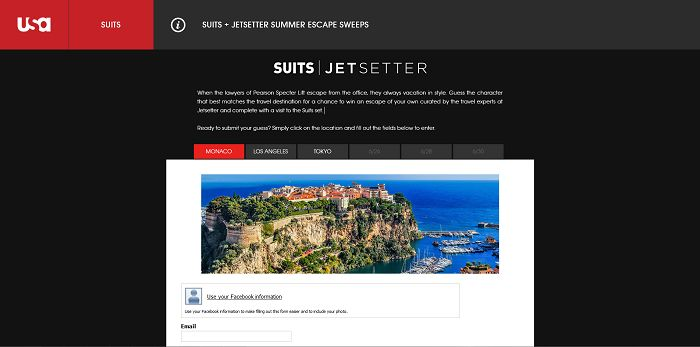 SUITSSummerEscape.com - SUITS Summer Escape Sweepstakes