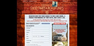 Toby Keith Good Times and Pickup Lines Sweepstakes