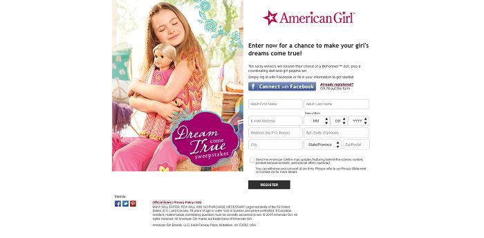 AmericanGirl.com/DreamSweeps - American Girl Dream Come True Sweepstakes