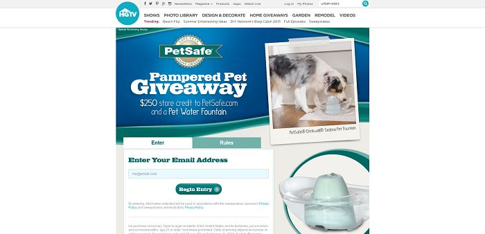 HGTV.com/PamperedPetGiveaway - HGTV PetSafe Brand Pampered Pet Giveaway