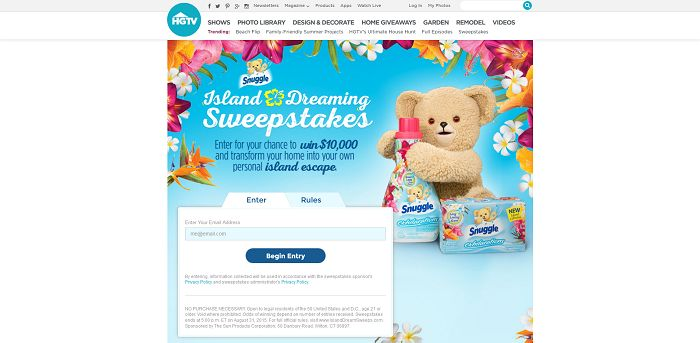 IslandDreamSweeps.com - HGTV And Snuggle Island Dreaming Sweepstakes