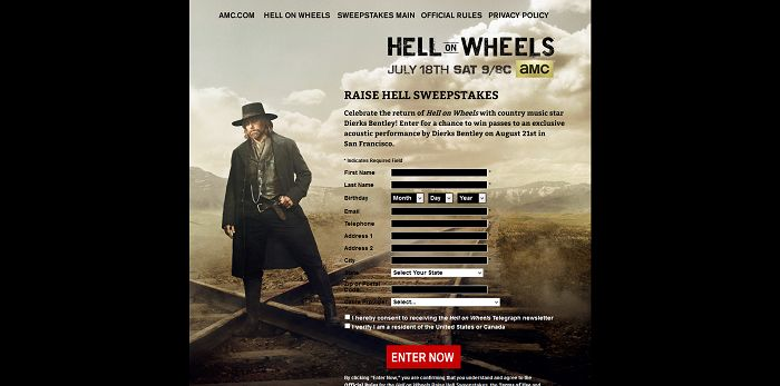 AMC.com/RaiseHellSweepstakes - AMC Hell On Wheels Raise Hell Sweepstakes