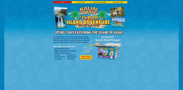 Kauai Coffee $25,000 Island Adventure Instant Win Game (KauaiCoffeeAdventure.com)