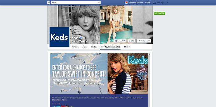 Keds 1989 World Tour Sweepstakes On Facebook