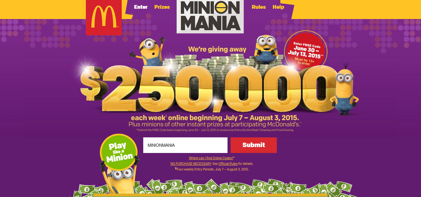 Minions at mcd sweepstakes official