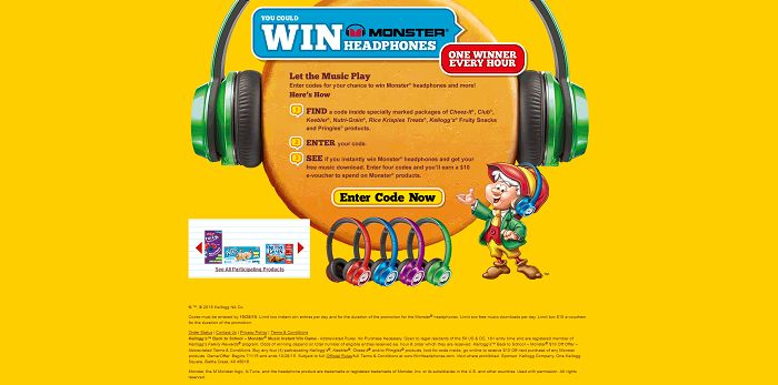 WinHeadphones.com - Kellogg's Back to School Monster Music Instant Win Game