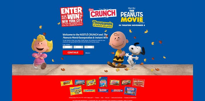 CrunchAndPeanutsSweeps.com - Nestlé Crunch and The Peanuts Movie Sweepstakes and Instant Win
