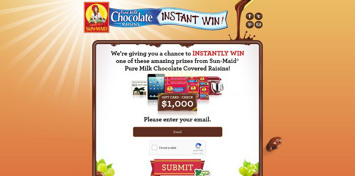 WinChocolateRaisins.com - Sun-Maid Pure Milk Chocolate Covered Raisins Instant Win Game
