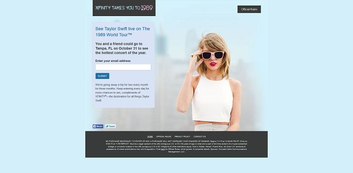 XfinityCollegeSweeps.com - 1989 World Tour College Trip Sweepstakes