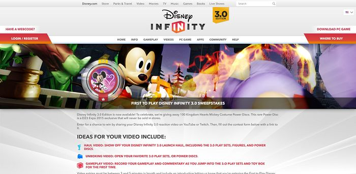 First To Play Disney Infinity 3.0 Sweepstakes
