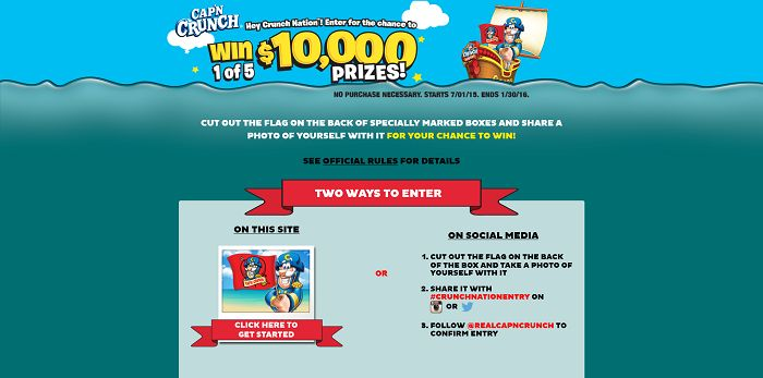 JoinCrunchnation.com - Cap'n Crunch Crunch Nation Sweepstakes