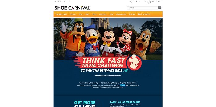 Shoe Carnival Think Fast Trivia Challenge Sweepstakes