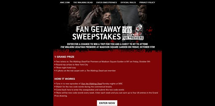 AMC.com/FanGetawaySweepstakes - AMC's The Walking Dead Fan Getaway Sweepstakes