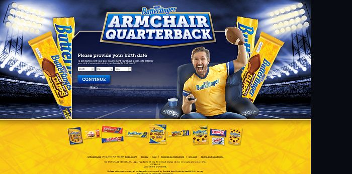 ButterfingerArmChair.com - BUTTERFINGER Armchair Quarterback Sweepstakes