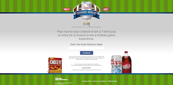 TheUltimateRivalry.com - Coors Light Ultimate Rivalry Master Of The Tailgate Promotion