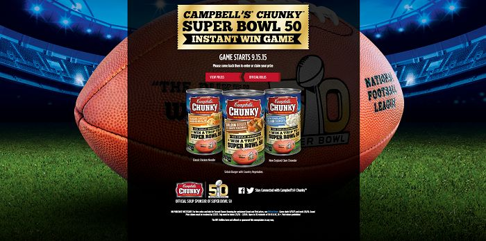 ChunkyInstantWinGame.com - Campbell's Chunky Super Bowl 50 Instant Win Game