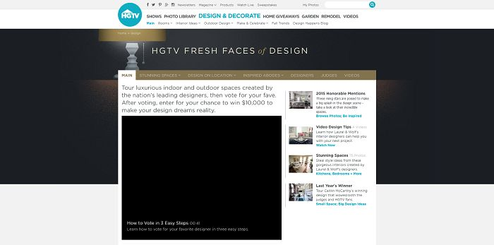 HGTV.com/FreshFaces - HGTV Fresh Face Of Design Awards Giveaway