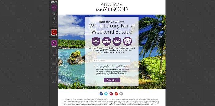 Oprah.com/WellAndGoodSweeps - Oprah Luxury Island Weekend Escape Sweepstakes