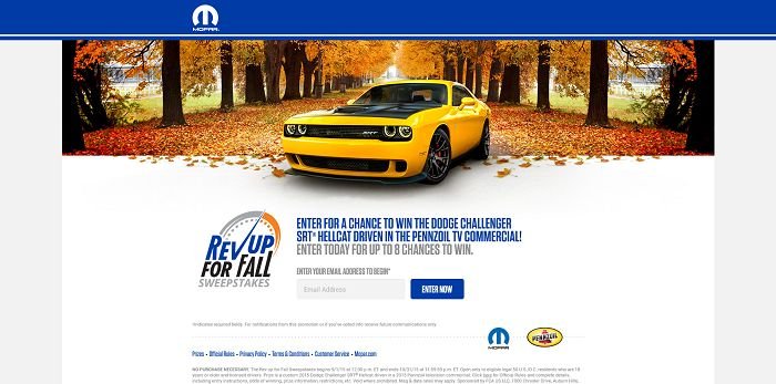 RevUpWithMopar.com - Mopar's Rev Up For Fall Sweepstakes