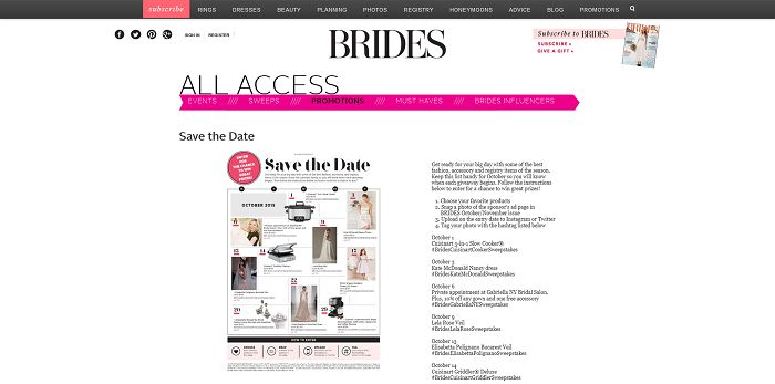 Brides Save The Date Sweepstakes