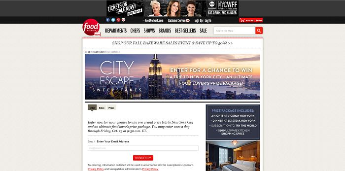 Food Network Store City Escape Sweepstakes