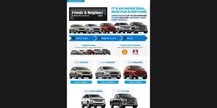Ford 2015 Friends and Neighbors Sweepstakes