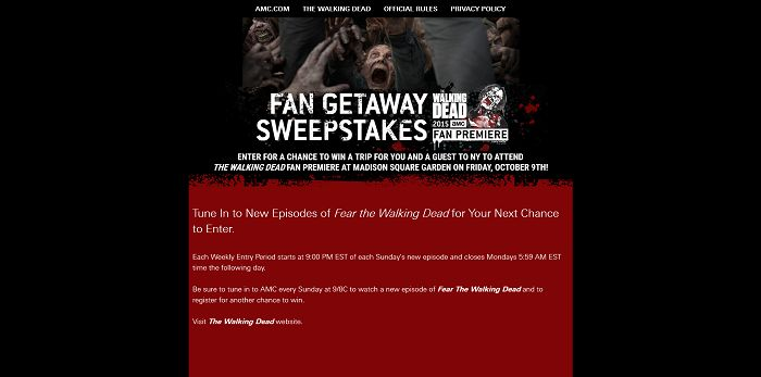 The Walking Dead - Fan Getaway Sweepstakes
