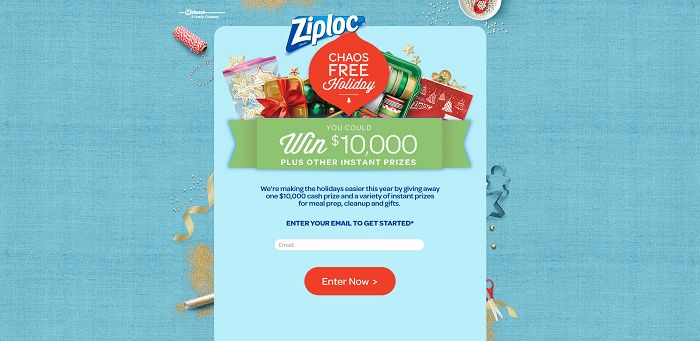 Ziploc Chaos-Free Holiday Instant Win Game And Sweepstakes