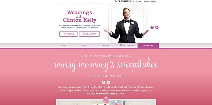 Macys.com/MarryMeMacys - Marry Me Macy's Sweepstakes