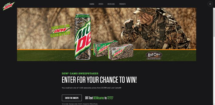 Mountain Dew DEWCAMO Sweepstakes