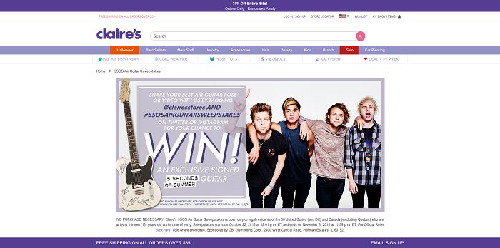 Claire's 5SOS Air Guitar Sweepstakes (Claires.com/5sos)
