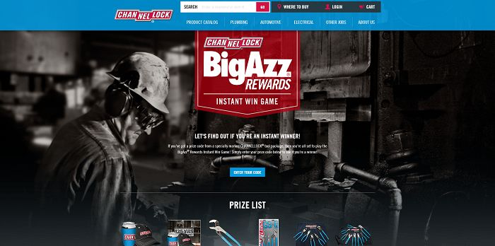 BigAzzRewards.com - Channellock BIGAZZ Rewards Instant Win Game And Sweepstakes