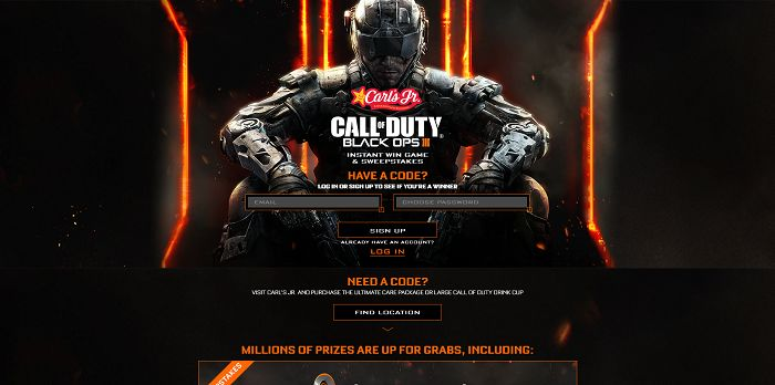 CarlsJr.com/CallOfDuty - Carl's Jr. Call of Duty: Black Ops III Instant Win Game And Sweepstakes