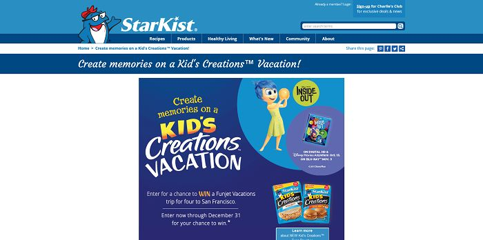 StarKist Kid's Creations Vacation Sweepstakes