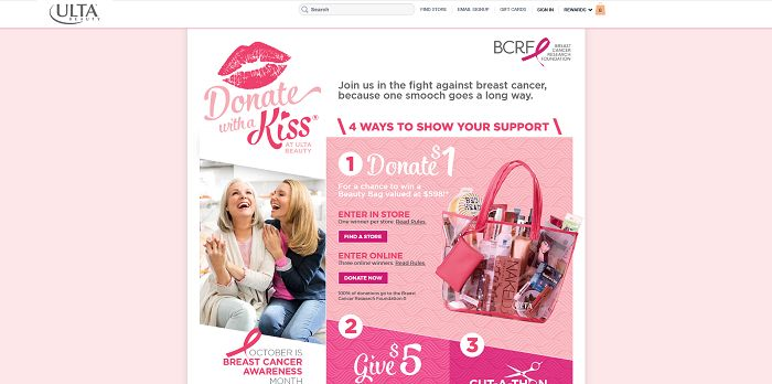 ULTA Beauty Donate With a Kiss Sweepstakes