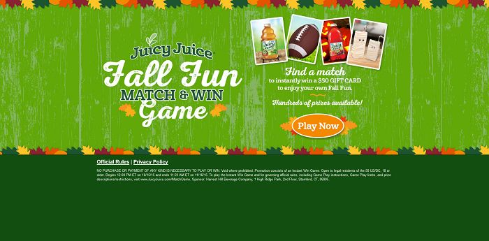 Juicy Juice Fall Fun Match And Win Game