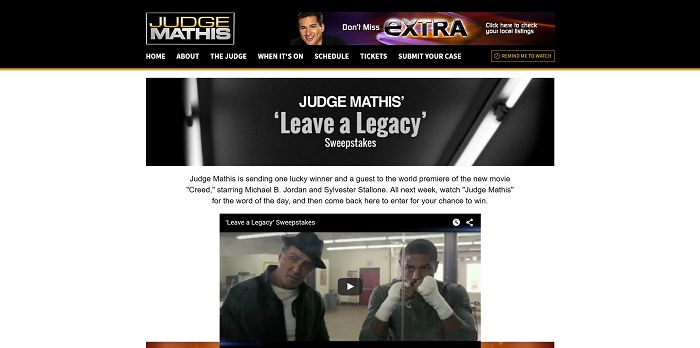 JudgeMathisTV.com/Creed - Judge Mathis' Leave A Legacy Sweepstakes