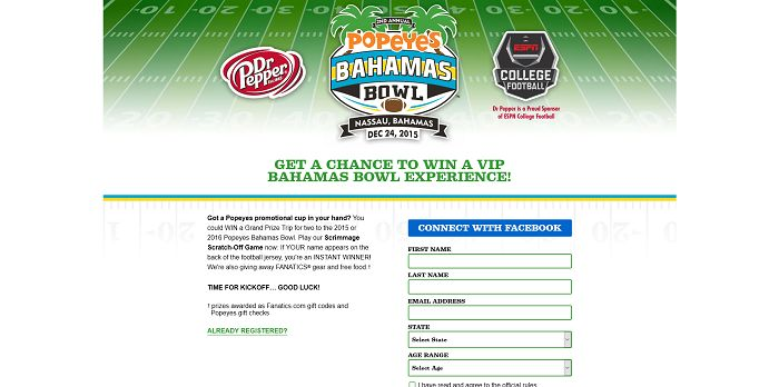 Popeyes and Dr Pepper Football Instant Win Game And Sweepstakes