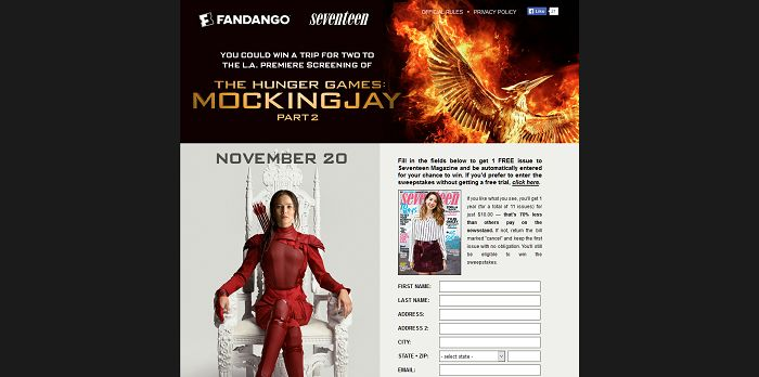 Seventeen.com/MockingjayTix - Seventeen Magazine's The Hunger Games: Mockingjay - Part 2 Fandango Sweepstakes