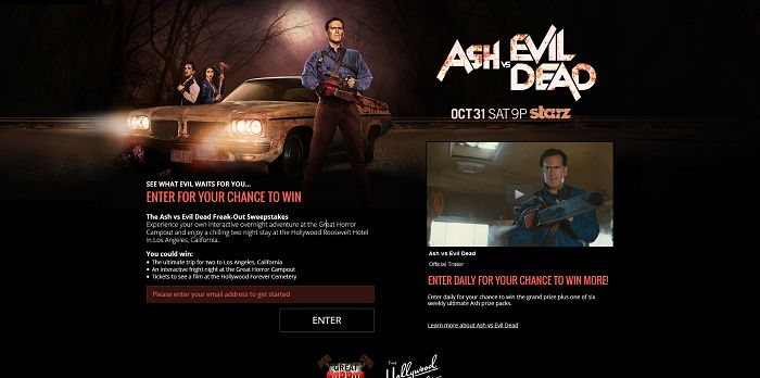 AshvsEvilDeadSweeps.com - Starz's Ash vs Evil Dead Freak-Out Sweepstakes