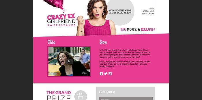 CrazyExSweepstakes.com - CW Crazy Ex-Girlfriend Sweepstakes
