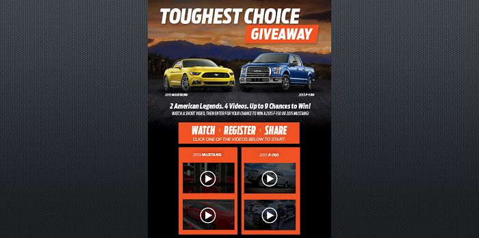 YourFordChoice.com - 2015 Ford Toughest Choice Giveaway
