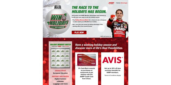 WinTheHolidays.com - AARP's Win The Holidays With Jeff Gordon Promotion