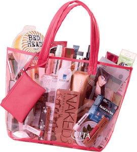 beauty bag donate with a kiss