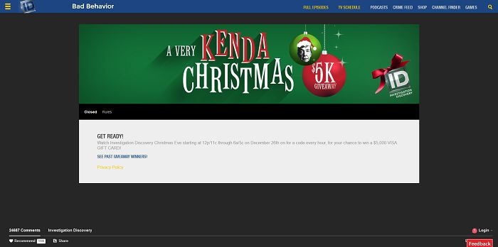 InvestigationDiscovery.com/Giveaway - Investigation Discovery A Very Kenda Christmas $5K Giveaway