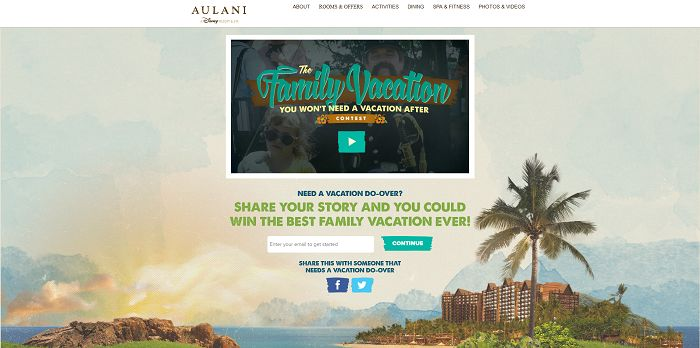 Aulani Family Vacation You Won't Need a Vacation After Contest (AulaniVacationContest.com)