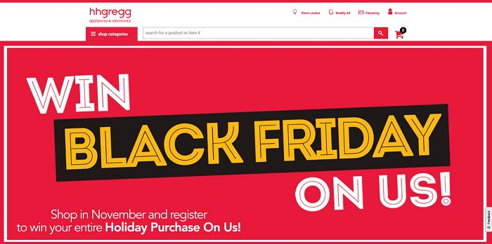 hhgregg Black Friday On Us Sweepstakes (hhgregg.com/on-us)