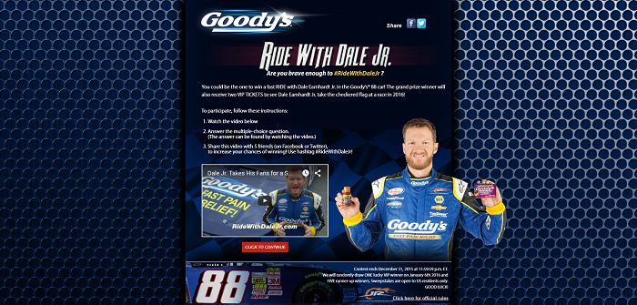 RideWithDaleJr.com - Ride With Dale Jr. Sweepstakes